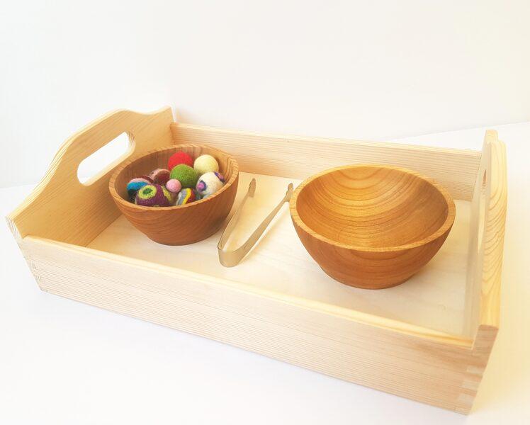 Montessori Pārvietošanas Komplekts Ar Vilnas Filca Bumbiņām