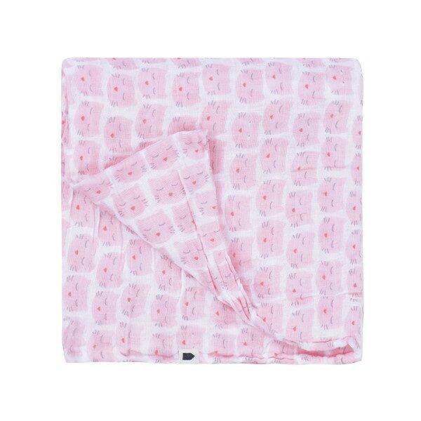 Maison Petit Jour® Muslina Autiņš Pink Cats 120x120 cm